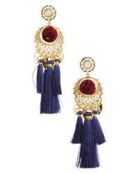Rebecca Minkoff   Blue Tassel & Pompom Chandelier Earrings   Lyst