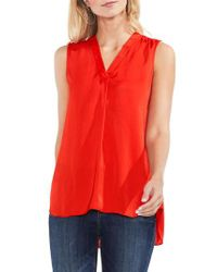 Vince Camuto - Red Sleeveless V-neck Rumple Blouse - Lyst