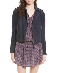 Joie | Blue Ailey Suede Moto Jacket | Lyst