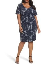 Adrianna Papell - Blue Side Ruched Sheath Dress - Lyst