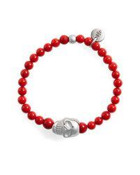 Eleventy - Red Skull Bead Bracelet - Lyst