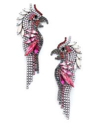 Elizabeth Cole - Pink Crystal Parrot Earrings - Lyst