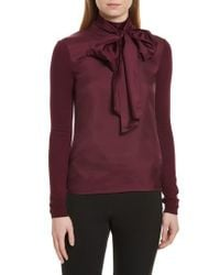 Ted Baker - Purple Babri Tie Neck Mixed Media Sweater - Lyst
