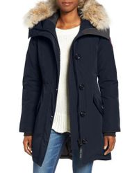 Canada Goose | Blue Rossclair Genuine Coyote Fur Trim Down Parka | Lyst