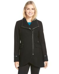 Trina Turk | Black 'mackenzie' Asymmetric Zip Leather Trim Coat | Lyst