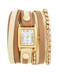 La Mer Collections - Metallic Leather & Chain Wrap Watch - Lyst