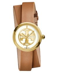 Tory Burch   Brown 'reva' Logo Dial Double Wrap Leather Strap Watch   Lyst