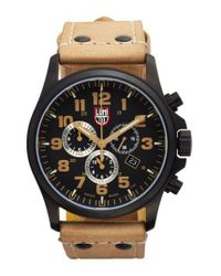 Luminox | Brown 'land - Atacama Field' Chronograph Leather Strap Watch for Men | Lyst
