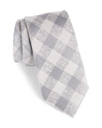 Calibrate - Gray Tigrane Check Silk & Cotton Tie for Men - Lyst