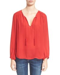 Joie | Red 'odelette' Silk Shirt | Lyst