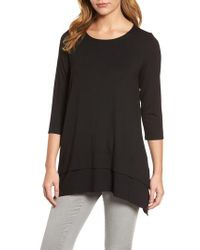 Eileen Fisher - Black Tiered Handkerchief Hem Tunic - Lyst