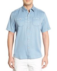 Tommy Bahama | Blue 'new Twilly' Island Modern Fit Short Sleeve Twill Shirt for Men | Lyst