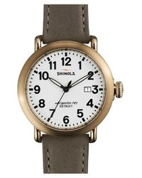 Shinola - Gray 'runwell' Leather Strap Watch for Men - Lyst