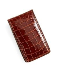 Boconi - Brown Alligator Magnetic Money Clip for Men - Lyst