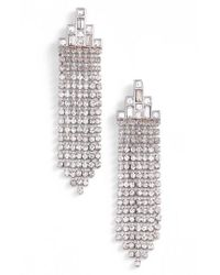 Rebecca Minkoff | Metallic Crystal Fringe Drop Earrings | Lyst