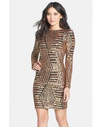 Dress the Population - Metallic Lola Sequin Body-con Dress - Lyst