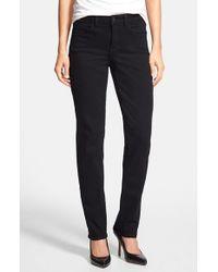 NYDJ | Black 'samantha' Stretch Slim Straight Leg Jeans | Lyst