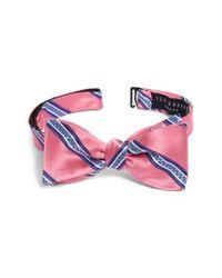 Ted Baker Pink Stripe Silk Bow Tie