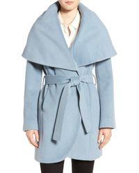 T Tahari | Blue Wool Blend Belted Wrap Coat | Lyst