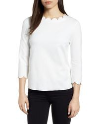Everleigh - White Ponte Scallop Top - Lyst