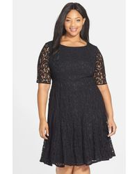 Adrianna Papell | Black Lace Fit & Flare Dress | Lyst