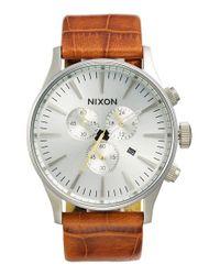 Nixon | Metallic 'sentry Chrono' Embossed Leather Strap Watch for Men | Lyst