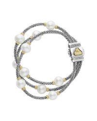 Lagos | Metallic Luna Pearl Triple Strand Bracelet | Lyst
