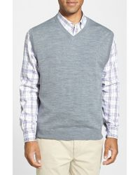 Cutter & Buck | Gray 'douglas' Merino Wool Blend V-neck Sweater Vest for Men | Lyst