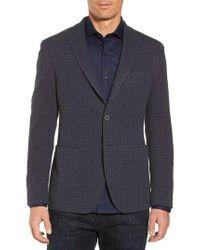 Bugatchi - Blue Houndstooth Cotton Knit Blazer for Men - Lyst