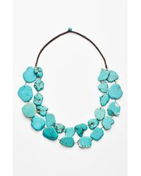 Panacea | Blue Chunky Double Row Howlite Necklace | Lyst