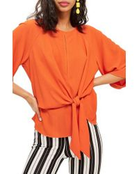 TOPSHOP - Natural Slouchy Knot Front Blouse - Lyst