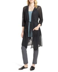 Eileen Fisher Multicolor Long Organic Linen Blend Kimono Cardigan