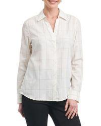 Foxcroft - White Nicole Windowpane Print Shirt - Lyst