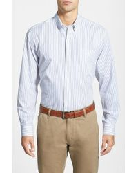 Cutter & Buck   Blue 'epic Easy Care' Classic Fit Vertical Pinstripe Wrinkle Resistant Sport Shirt for Men   Lyst