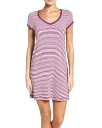 DKNY - Red 'city Essential' Stripe Jersey Sleep Shirt - Lyst