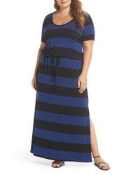 Caslon - Blue Caslon Knit Drawstring Waist Maxi Dress - Lyst