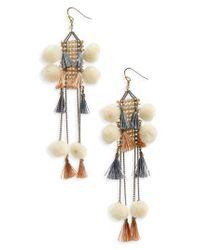 Nakamol | Gray Pom & Tassel Crystal Ladder Earrings | Lyst