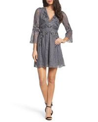 French Connection - Gray Esme Shimmer Beaded Lace Dress - Lyst