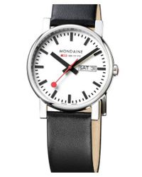 Mondaine - Black '(evo)lution' Leather Strap Watch for Men - Lyst