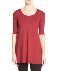 Eileen Fisher Red Scoop Neck Elbow Sleeve Jersey Tunic