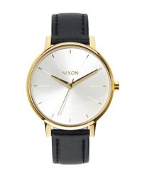 Nixon | Metallic 'the Kensington' Leather Strap Watch | Lyst