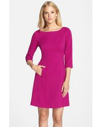 Vince Camuto | Purple Crepe A-Line Dress | Lyst