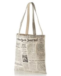Kate Spade | White Newspaper Print Canvas Shopping Tote | Lyst