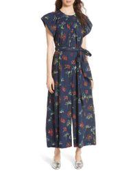 Ulla Johnson - Blue Coralie Floral Print Wide Leg Jumpsuit - Lyst