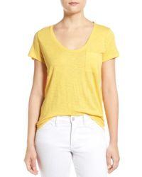 Caslon - Yellow Caslon Relaxed Slub Knit U-neck Tee - Lyst