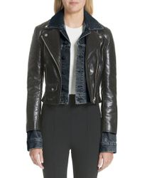 Alexander Wang - Black Denim & Leather Layered Jacket - Lyst