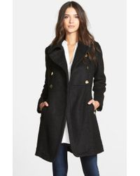 Guess - Black Double Breasted Boucle Cutaway Coat - Lyst