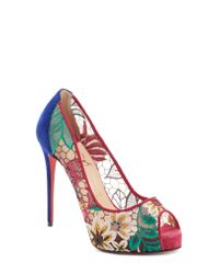 Christian Louboutin - Pink Very Lace Floral Peep Toe Pump - Lyst