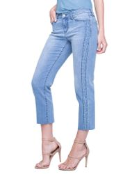 Liverpool Jeans Company - Blue Embroidered Tuxedo Stripe Raw Hem Jeans - Lyst
