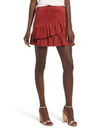 Soprano - Red Faux Suede Ruffle Miniskirt - Lyst